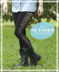 Celebrity Inspired Diy Slashed Leggings