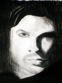 Vampire Diaries Damon Salvatore Drawing/Portrait
