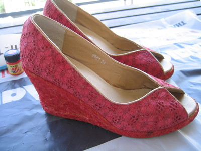 How to make a pair of lace shoes. Turn Old Shoes New - Step 2