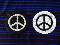 Hama Bead Black And White Peace Coasters