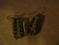 Green Striped Cylinder Earrings