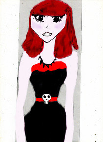 Gothic Manga Girl (Coloured Using Photoshop)