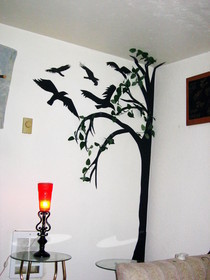 Creepy Black Poster Board Tree And Crows