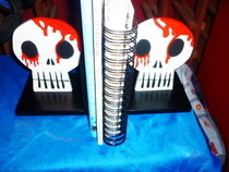 Wooden Goth Skull Book Ends
