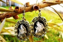 Howling Wolf Cameo Earrings
