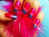 Blue & Pink Sparkly Nails