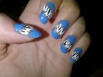 Blue & Sparkly Zebra Nails
