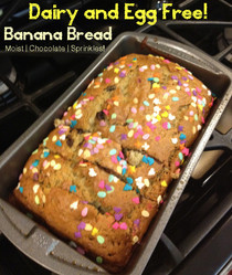 Moist Dairy & Egg Free Banana Bread With Chocolate And Sprinkles!