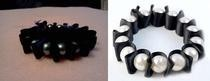 Pearls Black Silk Wound Elastic Bracelet