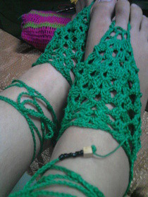 Green Crocheted Barefoot Crochet