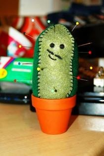 Happy Mustashioed Cactus Pincushion