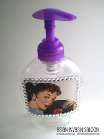 Decoupaged Pinup Girl Recycled Pump Bottle