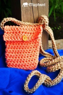 Crochet Peach Pouch