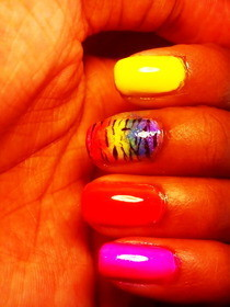 Rainbow Zebra Nails