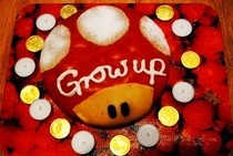 """Grow Up"" Mario Birthday Cake"