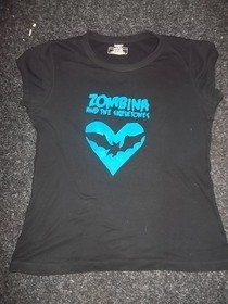 Stencilled 'Zombina And The Skeletones' T Shirt.