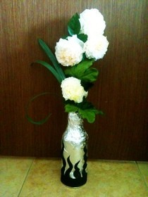 Tissue Paper Flowers And Decorated Vase