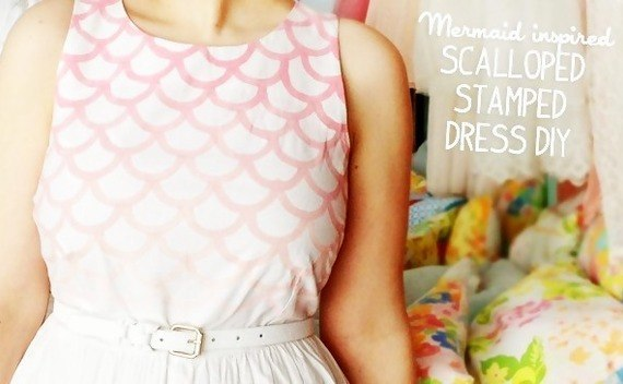 Stamped Scalloped Dress