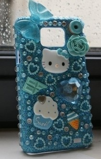 Blue Kawaii Hello Kitty Deco Phone Case