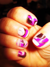 Nail Art, Water Marbling 