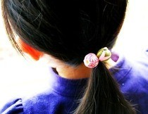 Fabric Decoupaged Bead Hair Bobbles