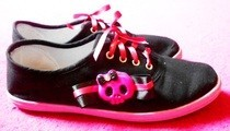 Girly Skull Pink Bow Ribbon Shoes :D