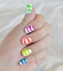 Neon Stripes Nail Design