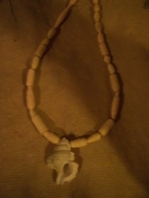 Paper Bead And Shell Necklace