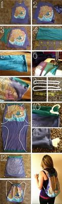 How to make a drawstring pouch. Tank Top To A Drawstring Bag  - Step 1