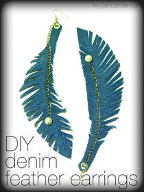 Diy Denim Feather Earrings