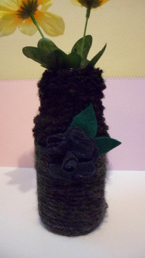 Yarn Wrapped & Felt Flower Vase