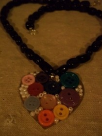 Button And Bead Heart Necklace