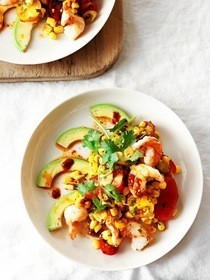 Corn, Cherry Tomato & Avocado Salad With Shrimp