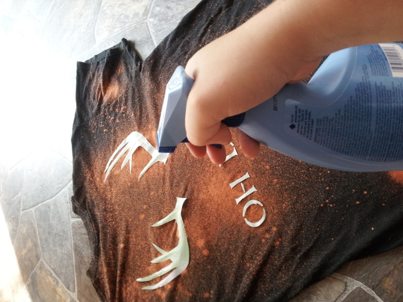 stencil bleached tee how to make a decorated top spray. Black Bedroom Furniture Sets. Home Design Ideas