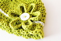 Crocheted Button On Flower
