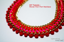 Woven Pom Pom Necklace