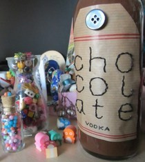 Homemade Chocolate Vodka & Bottle