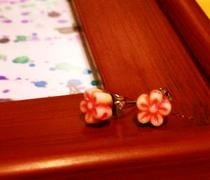 Pink Flower Bead Post Earrings