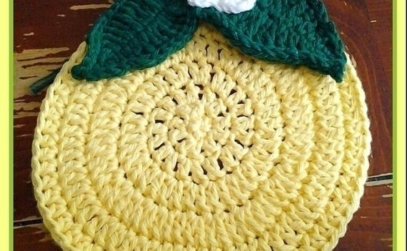 Cute Lemon Crocheted Trivet/Potholder