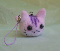 Vegan Needle Felt Kitty Phone Charm