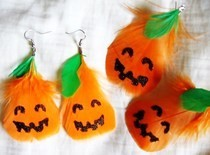 Pumpkin Feather Earrings