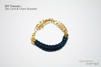 Silk Cord &amp; Chain Bracelet