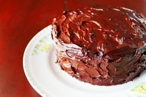 Eggless Chocolate Cake With Fudge Frosting