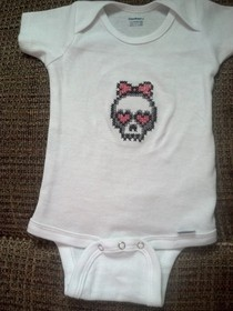 Skull Onesie Cross Stitched