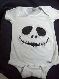 Jack Skelton Onesie I Cross Stitched