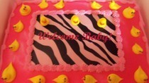 Hot Pink ,Zebra Print & Rubber Ducky Baby Girl Shower Cake