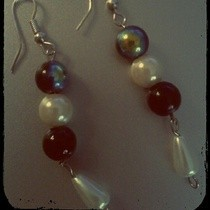 Beaded Pearl Dangle Earrings