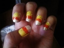 Candy Corn Sparkle Nails