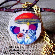 Pendant Necklace   Vintage Skull With Mushroom