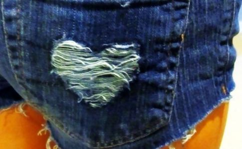 Distressed Heart Shorts